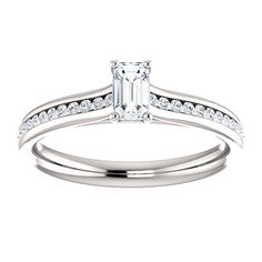 10kt White Gold 5x3mm Center Emerald Cubic Zirconia and 38 Accent Round Diamonds Engagement Ring...(ST122587:1671:P).! Price: $579.99