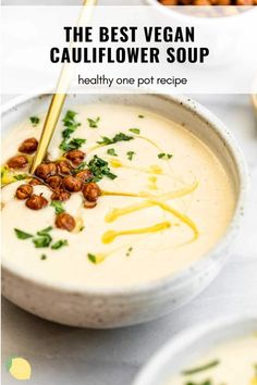 This creamy cauliflower soup is the best recipe out there. It's so easy to make, completely vegan yet so creamy. Made with cauliflower, cashews, herbs like thyme and topped with crisped roasted chickpeas. This simple soup is the perfect side dish or entree. It tastes cheesy (without cheese) and is the best way to eat your veggies. This vegan cauliflower soup is sure to be a hit! #cauliflowersoup #vegancauliflowersoup Creamy Cauliflower Soup, Cauliflower Soup Recipes, Vegan Cauliflower, Dairy Free Recipes, Vegan Recipes, Lemon Pepper Salmon, Those Recipe, Butternut Squash Soup, 30 Minute Meals