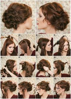 how to make a fancy bun - diy hairstyle - alldaychic comment faire un chignon chic - coiffure diy - Curled Updo Hairstyles, Super Cute Hairstyles, Easy Hairstyles, Date Night Hairstyles, 1800s Hairstyles, Glamorous Hairstyles, Easy Wedding Guest Hairstyles, Victorian Hairstyles, Diy Wedding Hair