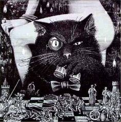 Behemoth From The Master and Margarita by Mikhail Bulgakov Bulgakov Master And Margarita, The Master And Margarita, Black Cat Tattoos, The Frankenstein, Creatures Of The Night, Chef D Oeuvre, Creature Feature, Russian Art, Popular Culture
