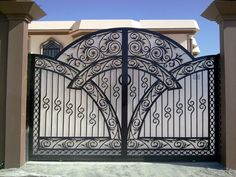 6 Easy And Cheap Cool Tips: Fence Classic Posts iron fence terrace.Vinyl Fence Picket split rail fence on hill.Over The Fence Planters. Iron Fence Gate, Iron Garden Gates, Fence Doors, Wrought Iron Gates, Entrance Gates, Steel Gate Design, Iron Gate Design, House Gate Design, Fence Design