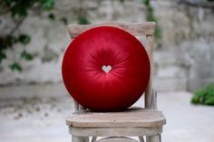 Red velvet round pillow 16 with heart shape rhinestone by fulyad