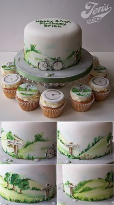 Cycling cake | Flickr - Photo Sharing! Funny Birthday Cakes, Birthday Cakes For Men, Cakes For Boys, Bicycle Cake, Bike Cakes, Fondant, Mountain Bike Cake, Mountain Biking, Dad Cake