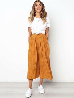 Willa Pant - Mustard - Source by - Flowy Pants Outfit, Summer Pants Outfits, Preppy Outfits, Modest Outfits, Modest Fashion, Casual Dresses, Cute Outfits, Fashion Outfits, Casual Pants