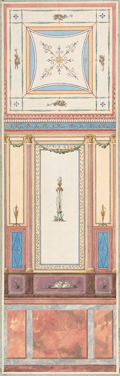 Design for Wall Paneling and Ceiling in Pompeiian Style, Château de Deepdene Jules-Edmond-Charles Lachaise  (French, died 1897)