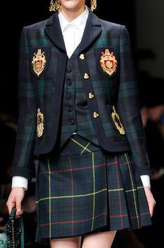 Moschino at Milan Fashion Week Fall 2013 - StyleBistro. Kilt like McEwen tartan. Tartan Fashion, Look Fashion, Runway Fashion, High Fashion, Womens Fashion, Milan Fashion, Gothic Fashion, Mode Outfits, Fashion Outfits
