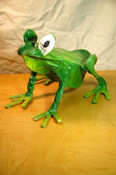 Vibrant Green Paper Mache Tree Frog