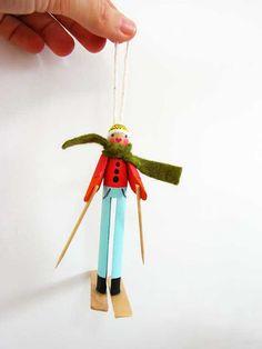 Peg Clothespin Skier