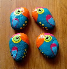 Colorful Spring Toucans - Hand-painted Stone Magnets and Pendants by Pandala Islands / Mesekavics