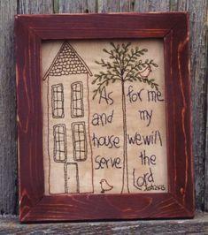 Primitive Stitchery Patterns   Primitive Stitchery Pattern As For Me and My House by karne