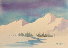 Snowy Mountain Study. watercolor by Teresa Ascone