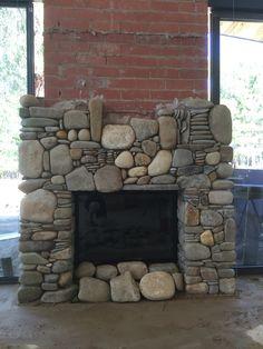 How to build a river rock fireplace fireplace pinterest fireplace in progress stonemason ian hills mudgegonga vic australia river rock solutioingenieria Images