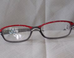 Check out 25% off! Swarovski Crystal Reading Glasses, 1.50 Strength, Hematite, Red Siam, Clear Crystals on Rectangular Frames. on jamaartbeads
