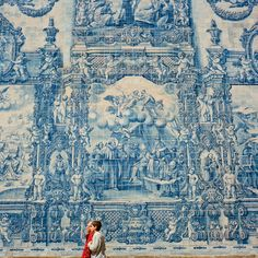 Porto, Portugal. Wall of Azulejo.