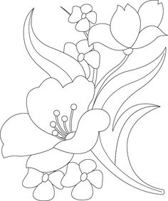 Flower Art Drawing, Flower Sketches, Wreath Drawing, Creative Embroidery, Paper Embroidery, Hand Embroidery Patterns, Flower Coloring Pages, Colouring Pages, Paint Designs