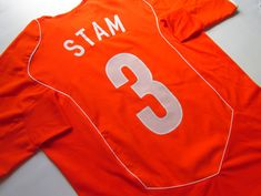 Netherlands home football shirt Jaap Stam by Nike Jaap Stam, Holland Netherlands, National Football Teams, Football Shirts, Soccer, Orange, Nike, Sweatshirts, Sports