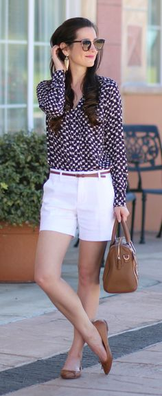 Cute Banana Republic popover blouse tucked into white shorts with a skinny brown belt, brown Banana Republic ballet flats, and a metallic Vera Bradley Marlo satchel. Such a cute and casual outfit idea for spring!