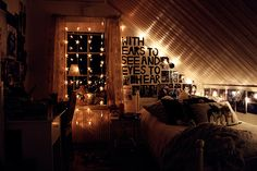 """with ears to see & eyes to hear"" sleeping with sirens cute indie bedroom with fairy lights & lyrics!"
