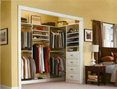 love the shelf on the side wall. in a smaller closet, you could make it about 1/2 that size but still use it for small stuff like socks, scarves, etc.