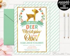 Little Deer First Birthday Invitation Template. Mint and gold foil Birthday Invitation. First Birthday Invitation. Boy Birthday Invitation by HandmadeIncredible on Etsy