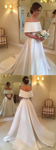 elegant off shoulder wedding dresses, modest wedding fashion, #weddings