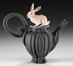 Rabbit Tea, Nancy Adams 5″ H x 5″ W Wheel-thrown vessel, hand-carved. Hand-modeled rabbit with airbrushed matte glazes. $225
