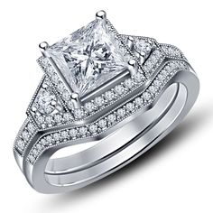 14K White Gold Fn Princess Sim. Diamond Solitaire Engagement + Wedding Ring Set #Unknown #SolitairewithAccent