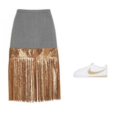 J.Crew wool skirt with metallic fringe, $350, jcrew.com; Nike Classic Cortez leather sneakers, $70, barneys.com