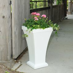 """Mayne Bordeaux 28"""" Tall Patio Planter in White. Made in the USA. www.gomayne.com"""