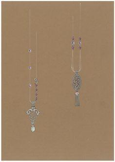 Özlem Altan. Diamond pendant necklace sketch...♡