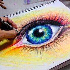 Crayola Eye  Original ART 9x12 with 11x14 Mat by michellecuriel, $89.99