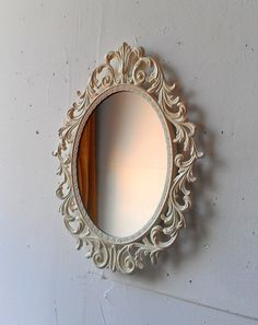 Oval Princess Mirror in Vintage Metal Filigree Frame - 13 by 10 Inches in Vintage White on Etsy, $55.00