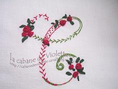 embroidered monogram C, sampler of stitches