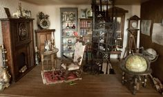 haunted dollhouse -- what I like best is that circular stairway with items in front and. Nice use of space.