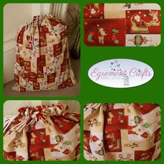 "Christmas sacks. Pillow case size 20"" x 30"" (as pictured) £19.99 Fully lined, will last for years."
