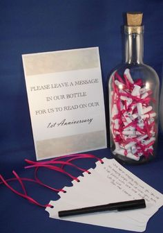 This lovely Guest Book Alternative includes 1 x 750ml glass bottle with cork 1 x black fineliner pen 1 x A5 Guest instruction card 40 x paper message