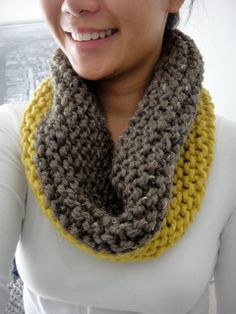 Alexa Color Block Chunky Cowl Infinity Scarf by LuluLuvs on Etsy, $40.00 yellow mustard mocha brown color block scarf knit handmade bulky scarf
