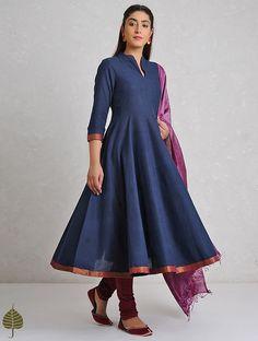 Indigo Handloom Cotton Kurta with Zari Border by Jaypore Churidar Designs, Kurta Designs Women, Blouse Designs, Long Gown Dress, Saree Dress, Indian Gowns Dresses, Pakistani Dresses, Designer Anarkali Dresses, Designer Dresses