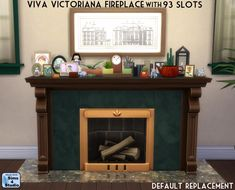 The Sims 4 | Orangemittens' Viva Victoriana Fireplace with 93 Slots | build mode base game override
