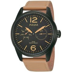 Pulsar Men's PW5011 Multi-Function Brown Leather Watch