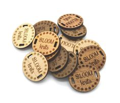 These custom tags are great for your own hand made products. They would look amazing on your knitted scarf or hat , or a handmade bag or wallet.  Basic design is an oval shape and two square openings for the tag to be sewn onto the product Dimensions are 1 x 0.9 Inches and they can contain one line of text, laser etched on solid maple, cherry or walnut wood sheet.  Price includes 50 identical pieces.  Please send us an email with any requirements or questions you might have, and we will be…