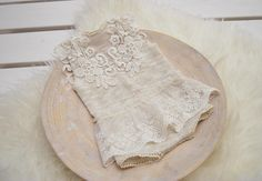 Newborn Photo Props, Newborn Romper, Lace Romper, Newborn Lace Dress, Baby Girl Props, Newborn Props, Ivory, Baby Picture Prop, Ivory, 108 This stunning newborn girl romper is sure to be a favorite with its delicate and elegant look. The romper is made of soft, stretchy, jersey
