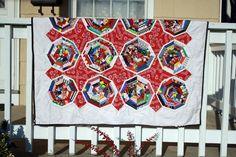 """Spiderweb quilt  45""""x 58""""  Summer weight flannel lined.  2009"""