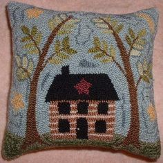 Primitive Needle Punch Pillow Cabin In The Woods by thetalkingcrow, $40.00