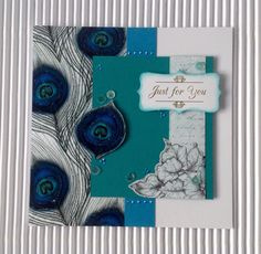 Card created using Nouveau Vogue Collection, made by Julie Hickey www.craftworkcards.com Craftwork Cards, Julie, Peacocks, Ultra Violet, Venetian, Handmade Cards, Card Ideas, Just For You, Vogue