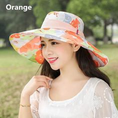 9751dbf038f Outdoor Travel wide brim hat flower printed UV package sun hats for women