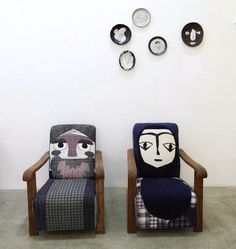 Wonderful upcycled patchwork reupholstered chairs and sofas by Nicole Teng of BrutCake.