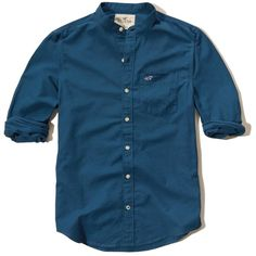 Hollister Banded Collar Oxford Shirt ($25) ❤ liked on Polyvore featuring men's fashion, men's clothing, men's shirts, men's casual shirts, blue, mens slim fit oxford shirt, mens blue oxford shirt, mens banded collar shirts, mens pocket t shirts and mens cotton shirts