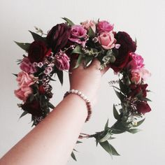 The Melissa No.2 Crown // Burgundy Purple Ranunculus, Mixed shades of blush pink and two-toned foliage www.thecrowncollective.co