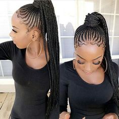 "2,587 Likes, 10 Comments - Blackhair_Flair (@blackhair_flair) on Instagram: ""@shaquellra Braided ponytail special inspired by Nicki Minaj! #braidedponytail #fauxlocs #locs…"""